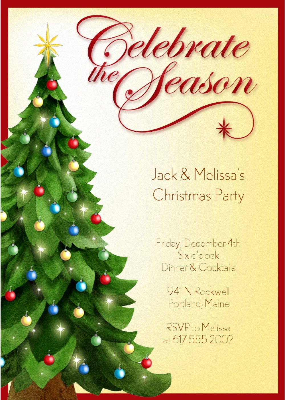 Christmas Party Invitation Template Christmas Invitations