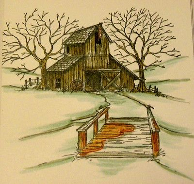 Old wooden Bridge!  Look at the other items in photo examples they are sold separately: Barn, fir tree, creek, mountain. Made by  Art Impressions Rubber Stamps.You can purchase these in my ebay store. Click on picture & it will take you into this listing. Use my search engine to find other items . My ebay Store is: Pat's Rubber Stamps & Scrapbooks or call me 423-357-4334  with order. We take PayPal. You get free shipping with $30.00 or more.