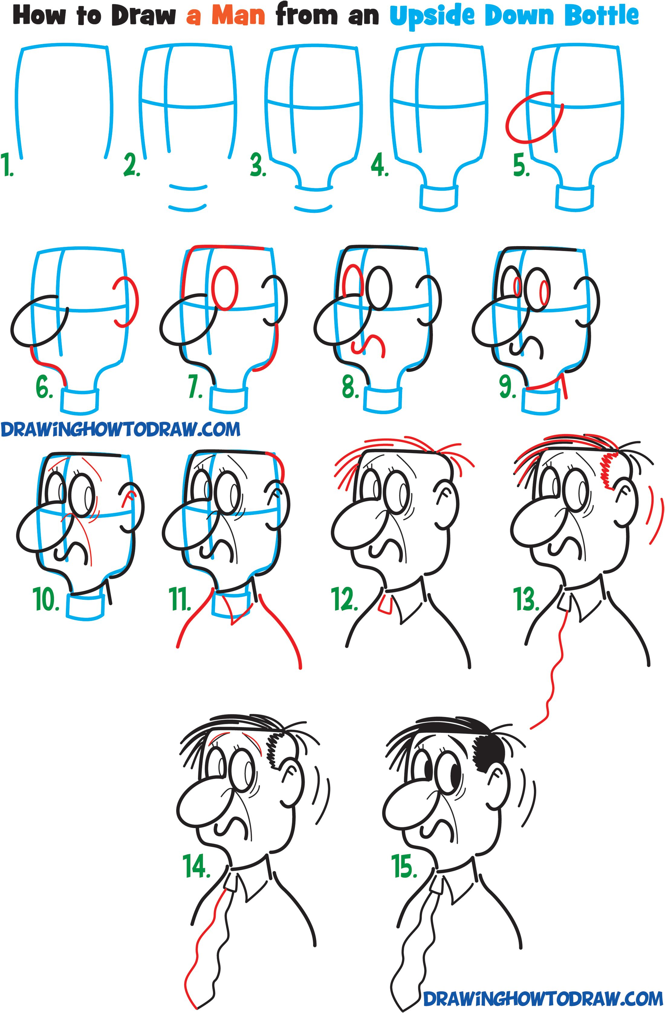 Tutorial 5 draw a cartoon mans face from the side profile view from an upside down bottle