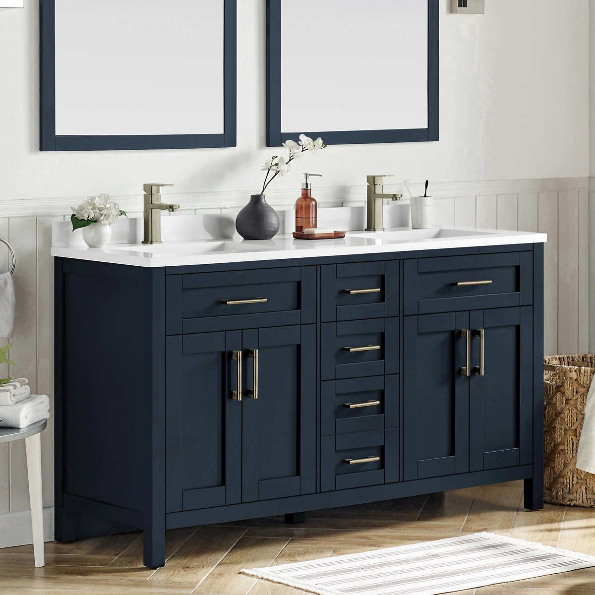 Lakeview 60 Vanity By Ove In 2020 Painted Vanity Bathroom 60 Vanity Blue Bathroom Vanity