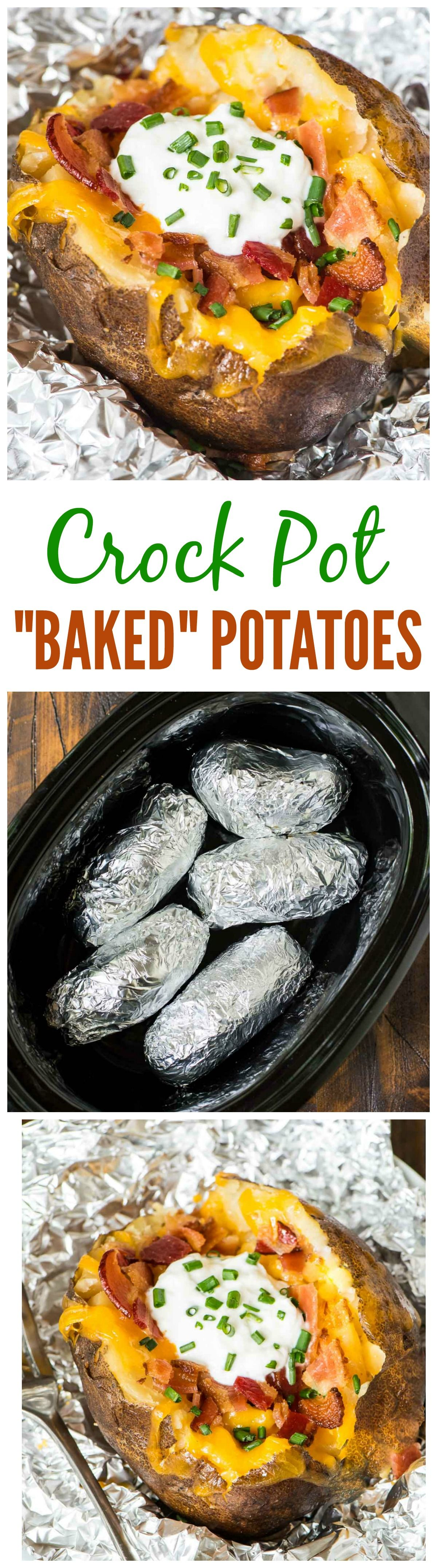 Crock Pot Baked Potatoes recipe. Awesome tailgate food idea! Can make ahead in the slow cooker for a football party or game day. No clean up and feeds a crowd!