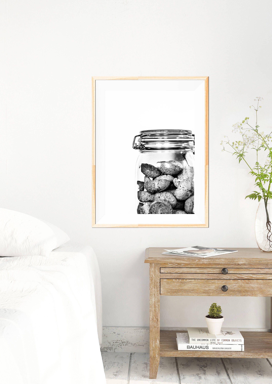 biscotti minimalist print black and white kitchen wall art