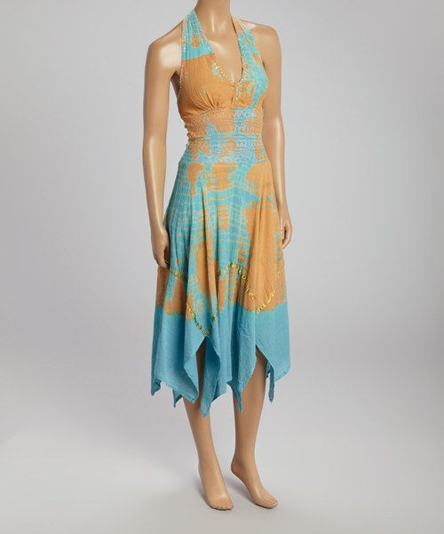 Take+a+look+at+the+Rust+&+Blue+Tie-Dye+Halter+Dress+on+#zulily+today!