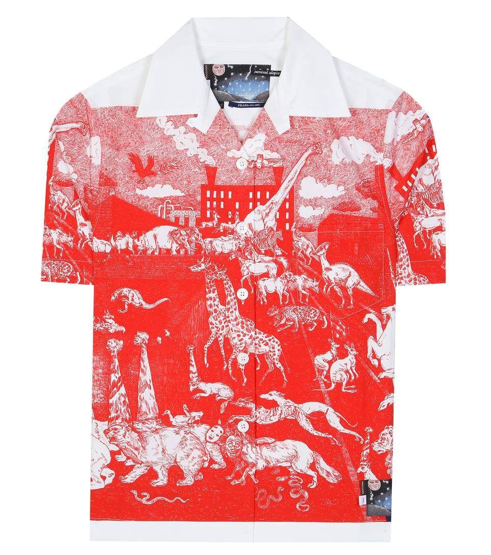 e543ad04 Prada Survival Utopia printed red and white cotton shirt | Fall 2016 ...