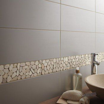 Galets Sol Et Mur Riviera Blanc   Leroy Merlin   Salle De Bains