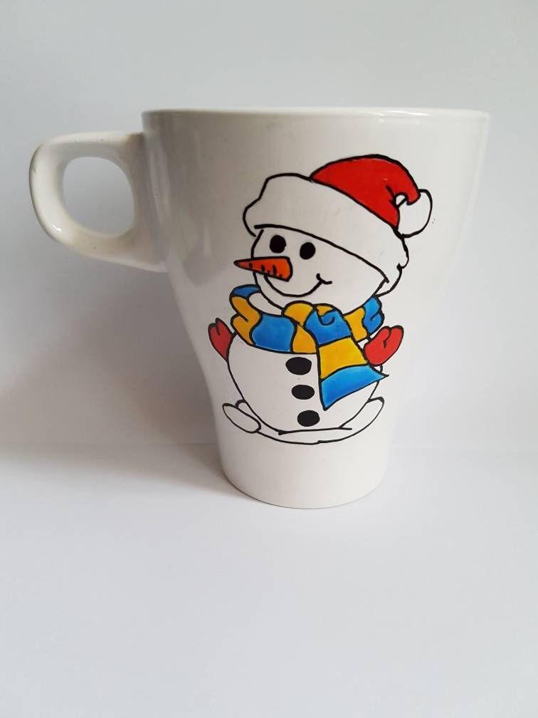 Snowman mug, personalised Christmas mug, Christmas eve mug, winter ...
