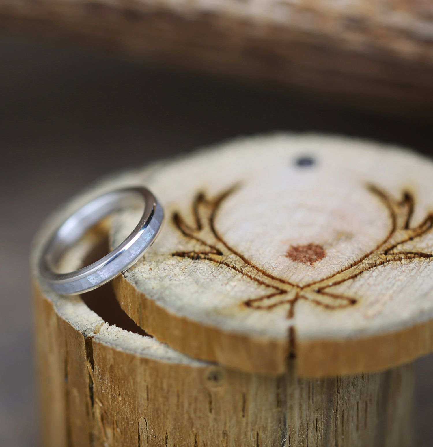 Mother of pearl stacking wedding band, handcrafted by Staghead Designs.