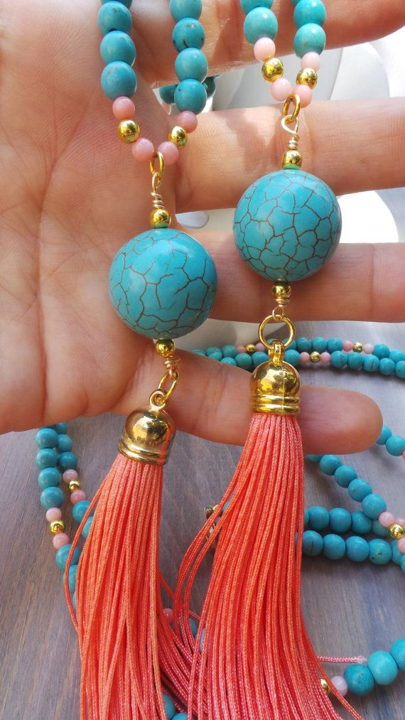 20badc03707c Collar largo perlas borla color turquesa y coral. Collar de ...
