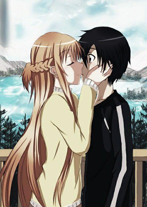 Sword Art Online Kirito X Asuna Cute Couple Kiss Anime Manga