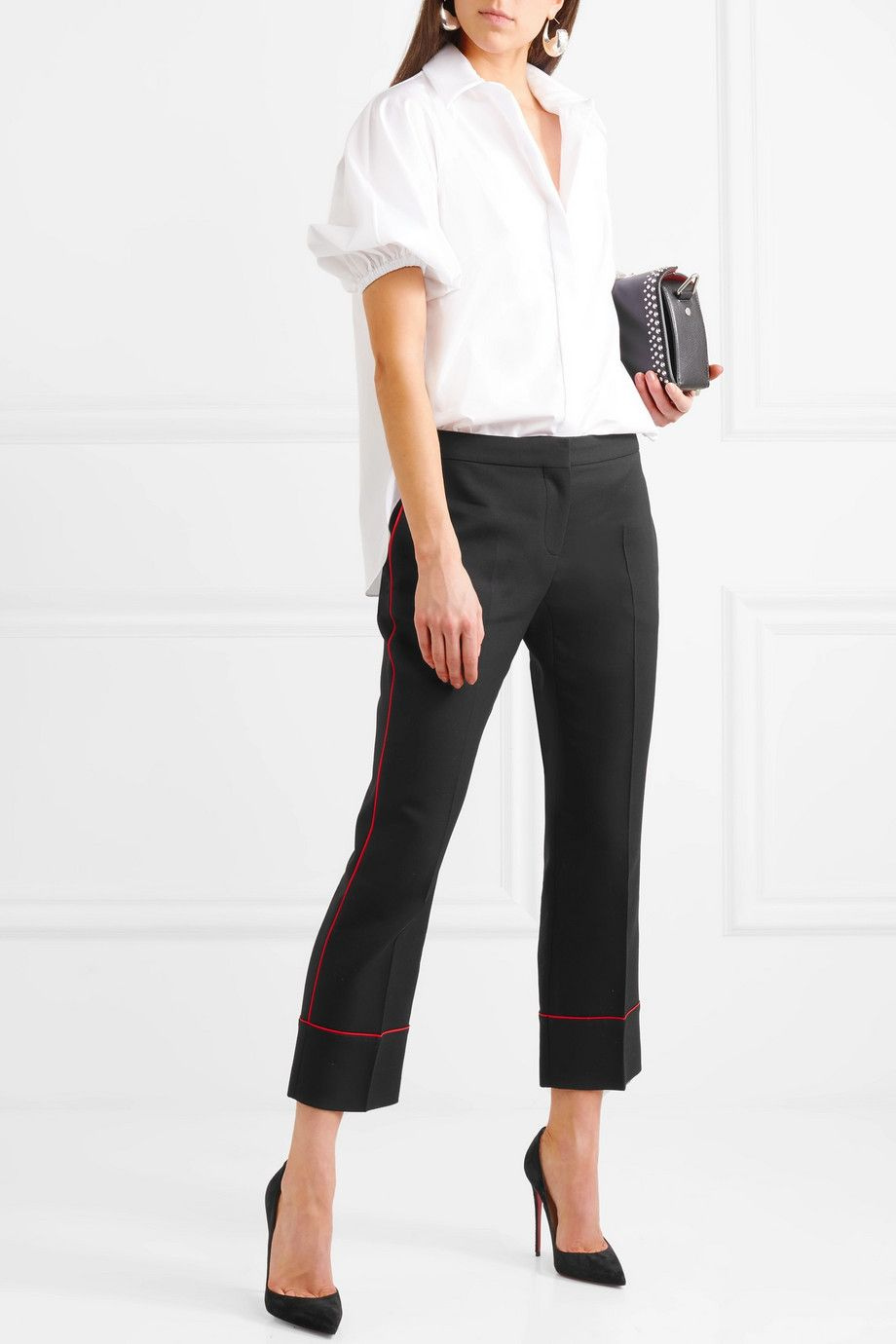 Piped Cropped Wool-blend Straight-leg Pants - Black Alexander McQueen F35Ibt