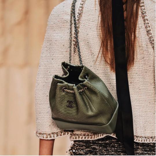eb19ae320aae Chanel Green Python Gabrielle Backpack Bag - Cruise 2018