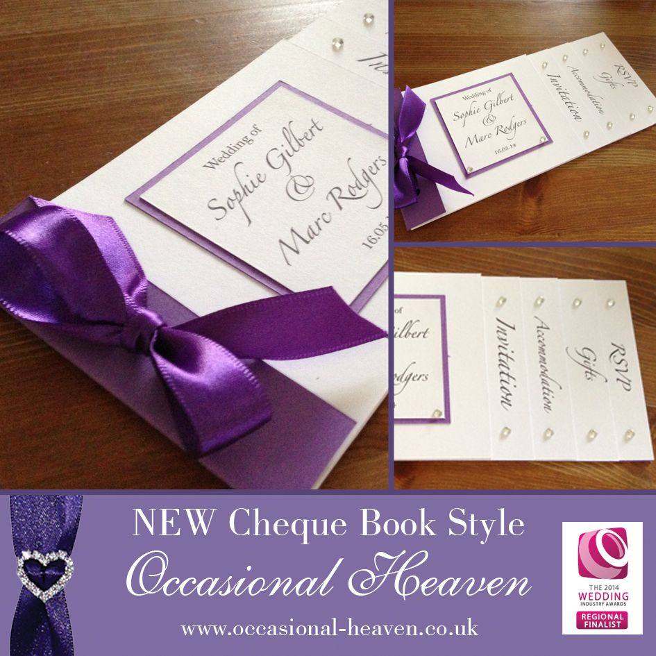 Cheque book style invitations. Available in any colour to suit your ...