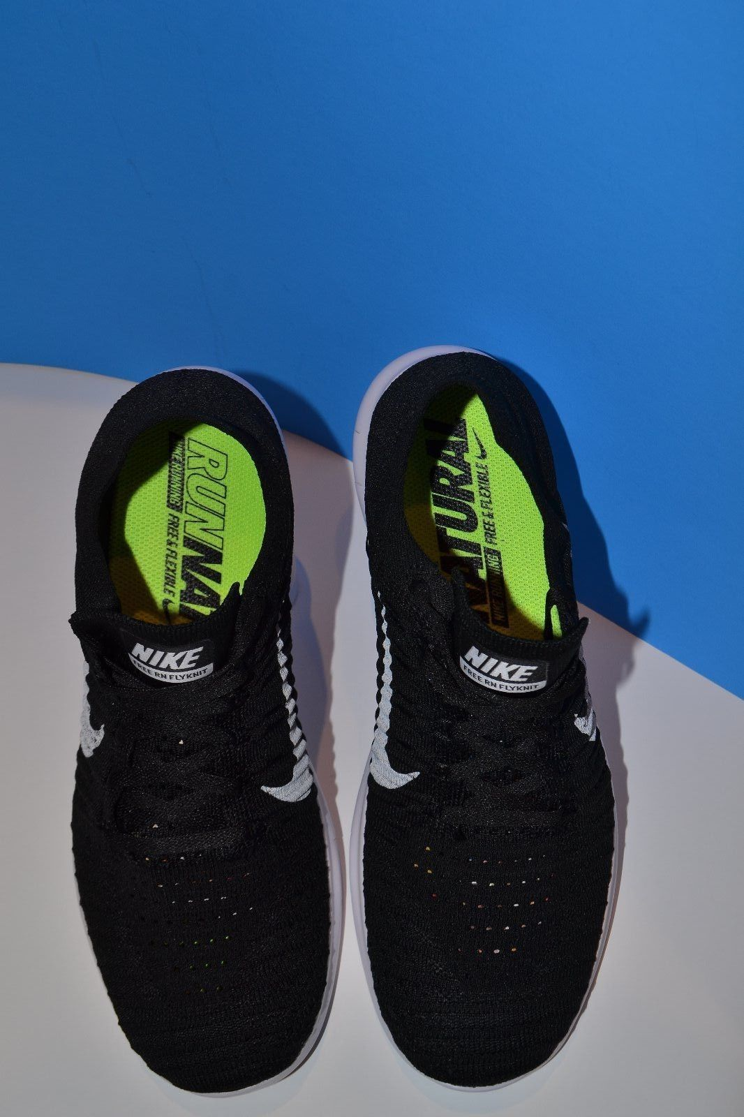 buy popular 5a791 87647 Nike Free Run FlyKnit Running Shoes Runatural Black WhiteTrim Mens Size 8 1  2 D