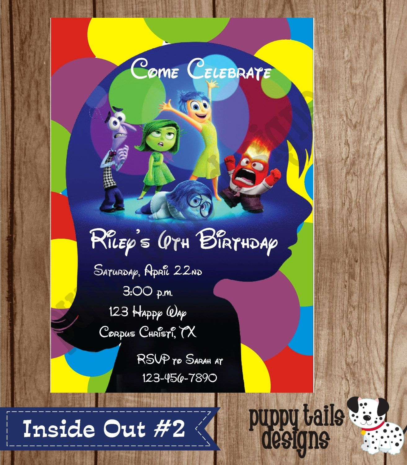Custom Printed Inside Out Birthday Party, Baby Shower Invitations