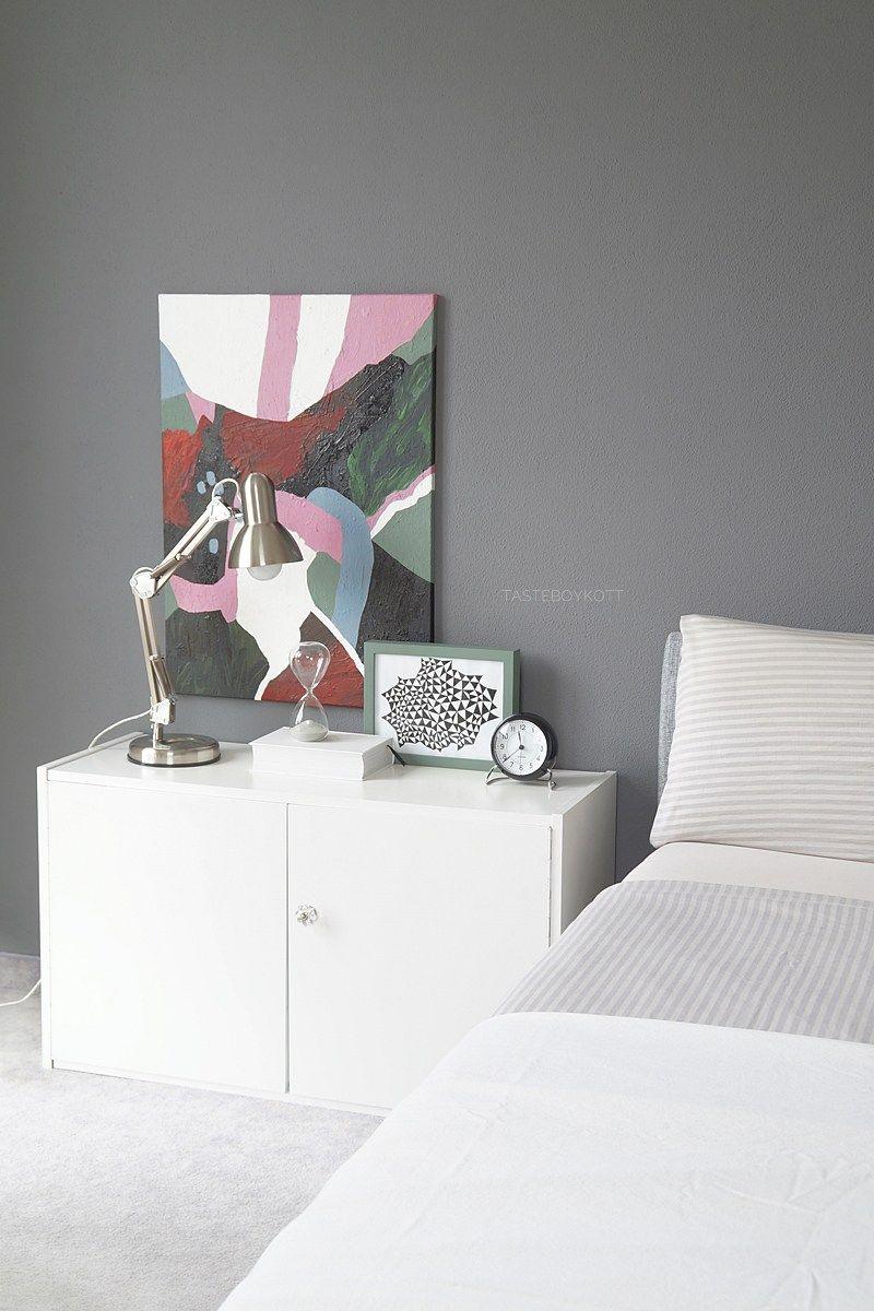 schlafzimmer mit grauer wandfarbe  schöner wohnen