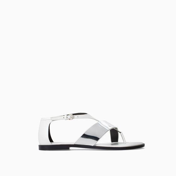 d9efa8592 METALLIC FLAT LEATHER SANDAL - Flat sandals - Shoes - WOMAN