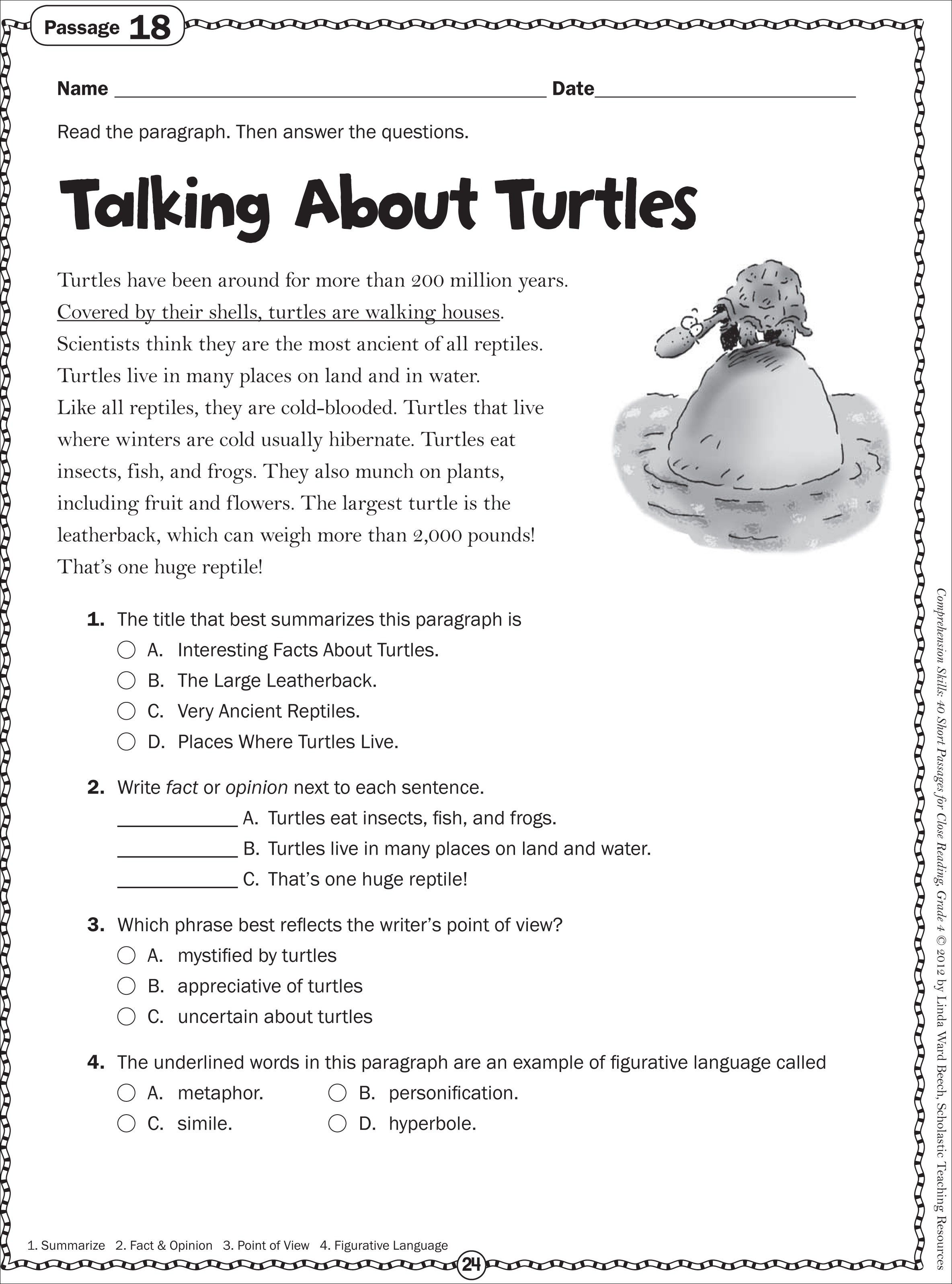 Talking About Turtles Grade 4 Close Reading Passage Free Reading Comprehension Worksheets Reading Comprehension Worksheets Third Grade Reading Worksheets