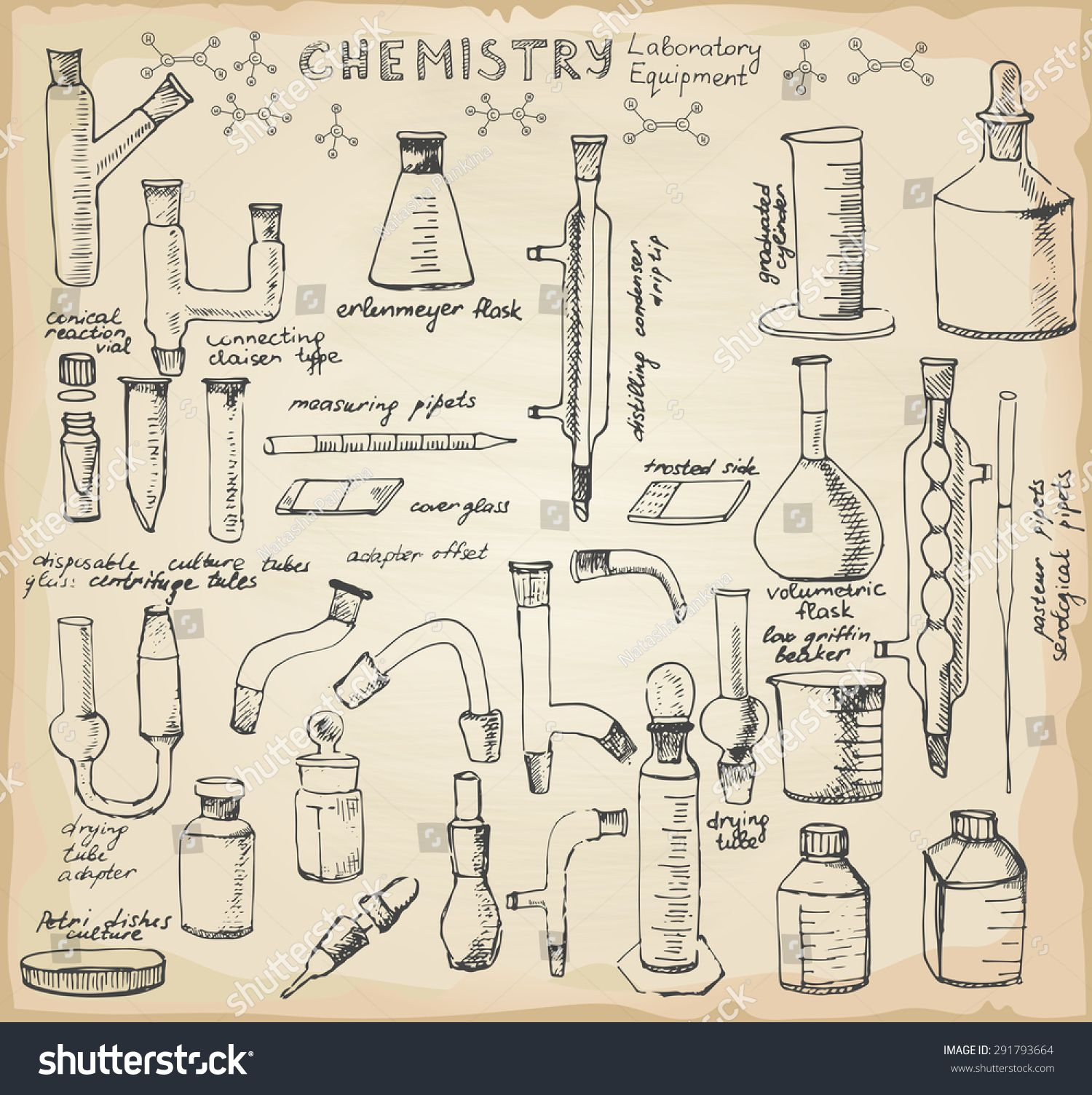 Set Of Hand Drawn Science Glass Chemical Equipment Old