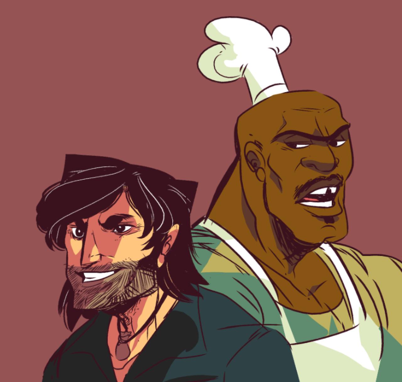 Chris and Chef Cartoon drawings, Cartoon
