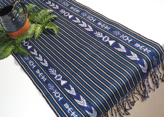 Indigo Blue and Ikat Tribal Table Runner  Handwoven by TheFairLine