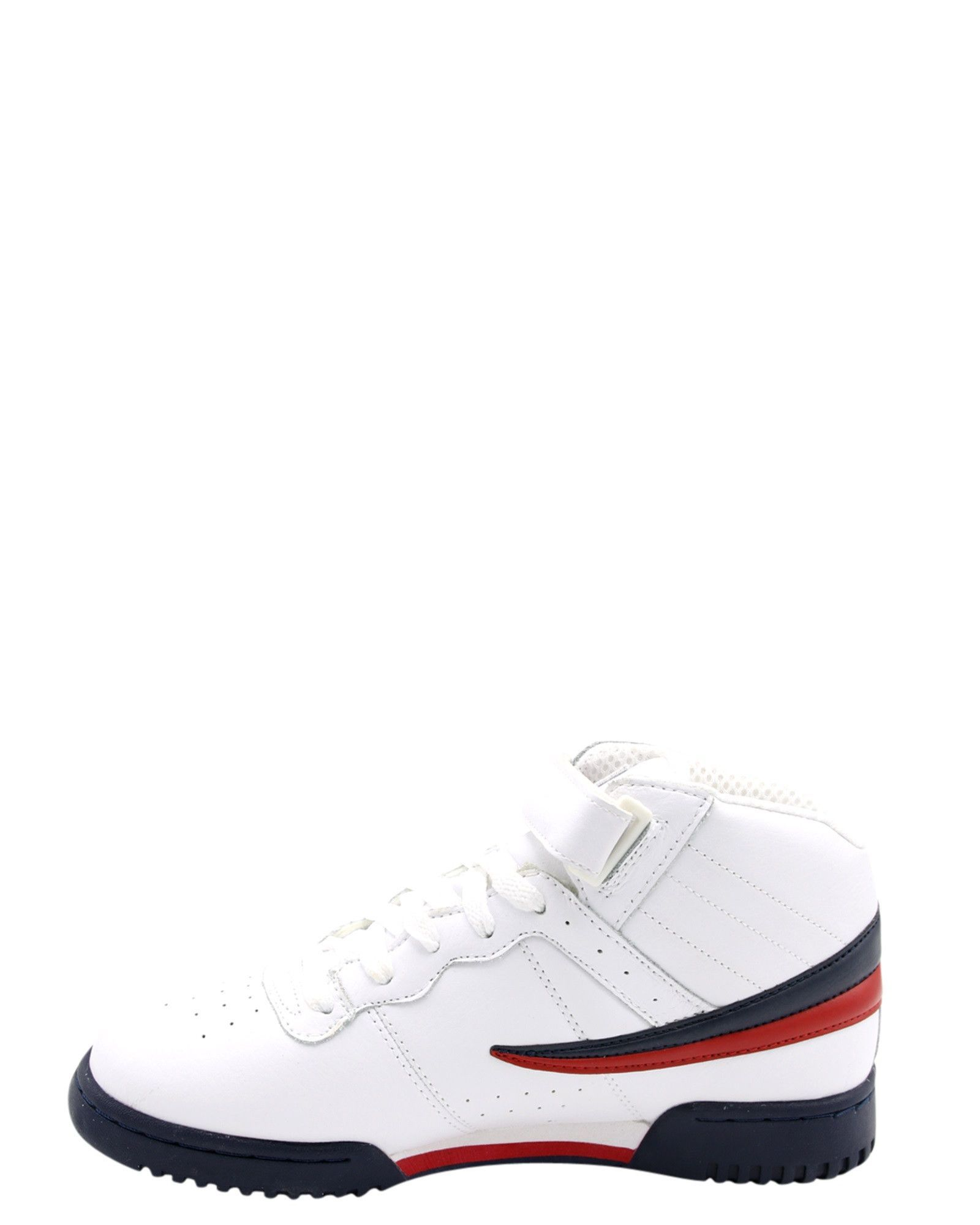 c3b27fd6476a Perforated leather upper in white with navy and red - Mid cut construction  - Lace