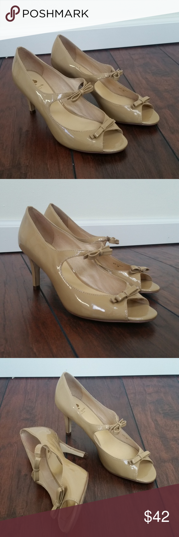 770bb9b324e8 Kate Spade Patent Leather Pumps Bows Nude Excellent pre-owned condition.  Please see pictures. kate spade Shoes