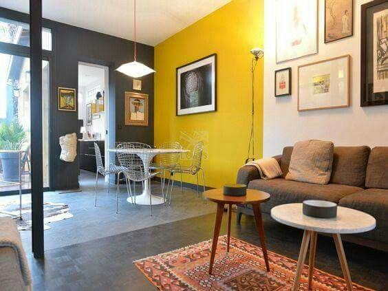 Design Teeps Habitacion Amarilla Y Gris Colores De Interiores Colores De Casas Interiores