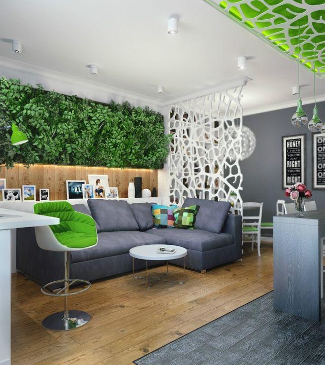 Offene Kueche Wohnzimmer Gestaltung Vertikaler Garten Wanddeko