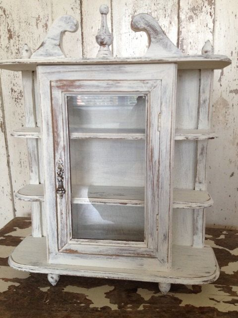 Vintage Curio Cabinet Wood Small Tabletop Cabinet Wall Hanger Wall Display Farmhouse Shabby Chic White Cabinet Table Top Storage Kitchen Curio Cabinet Wall Display Vintage Bathrooms