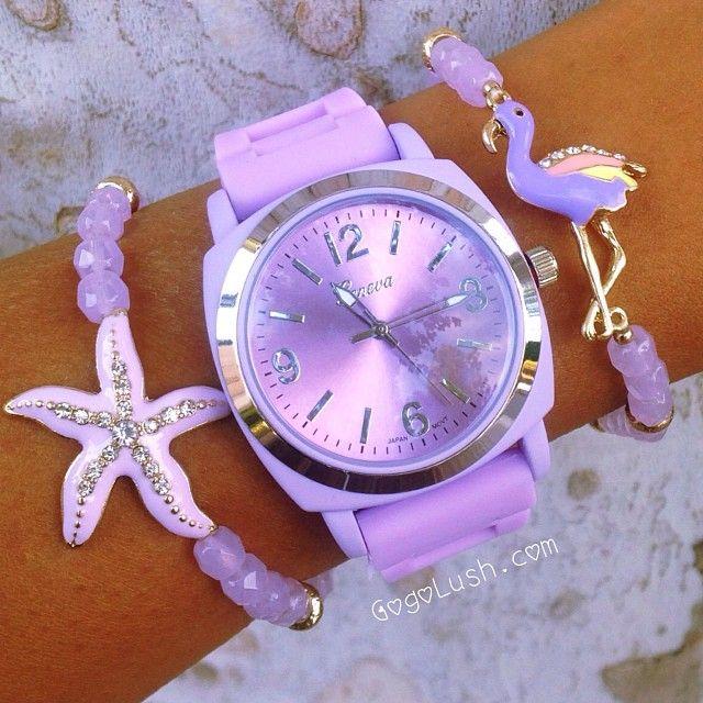#purple watch#starfish bracelet