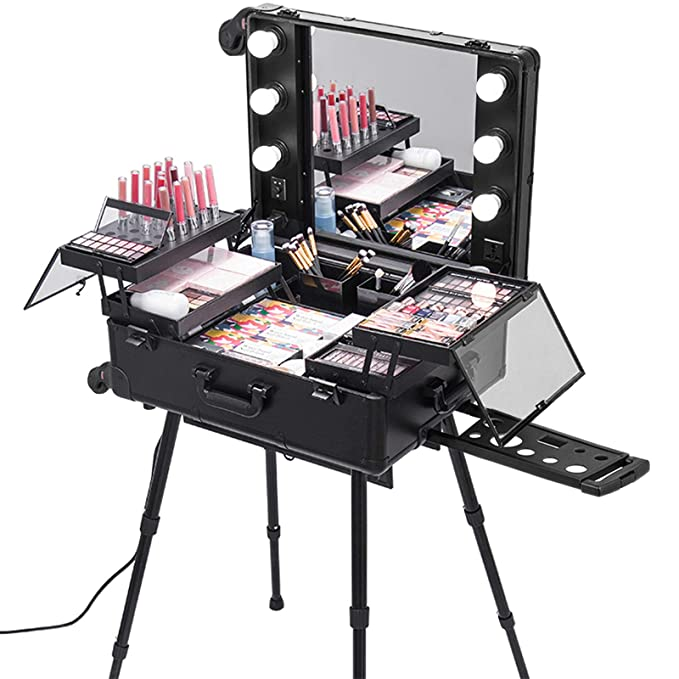 """Happybuy Rolling Makeup Case 28""""x21""""x54"""" with"""