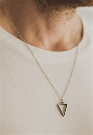 04f8b001c1a78 TRIANGLE CHAIN NECKLACE FOR MEN SILVER GEOMETRIC PENDANT HIM | Men's ...