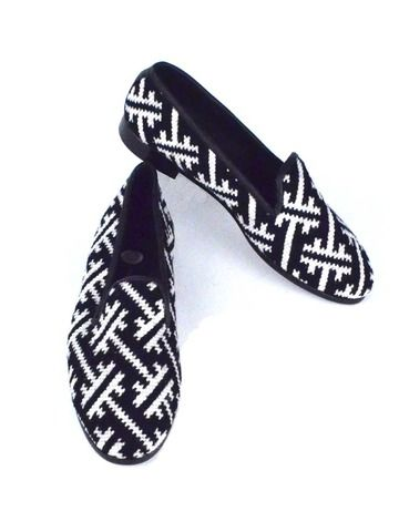 Black And White Geometric Needlepoint Loafer   Women's by By Paige from By Paige Shoes