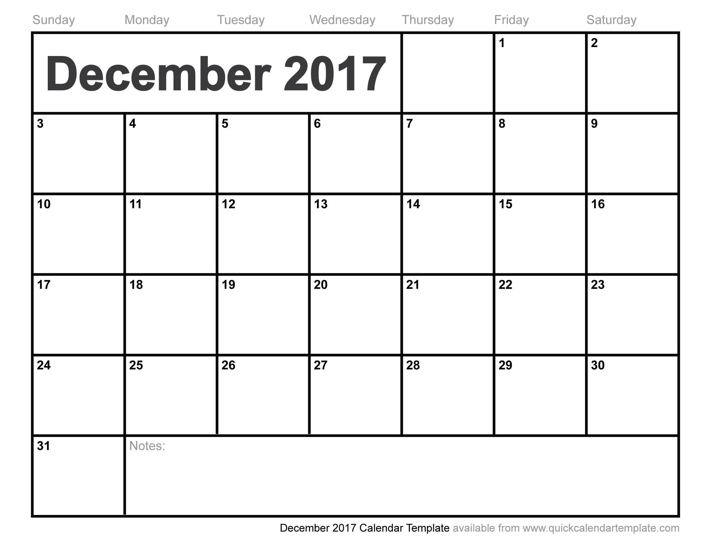 Free December Calendar Printable Templates With