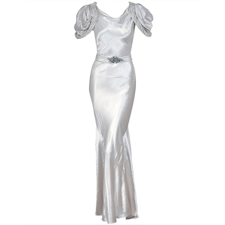 889fb73cac 1930 s White Silk-Satin Hourglass Bias-Cut Deco Evening Gown  definitely a  Jean Harlow show stopper!