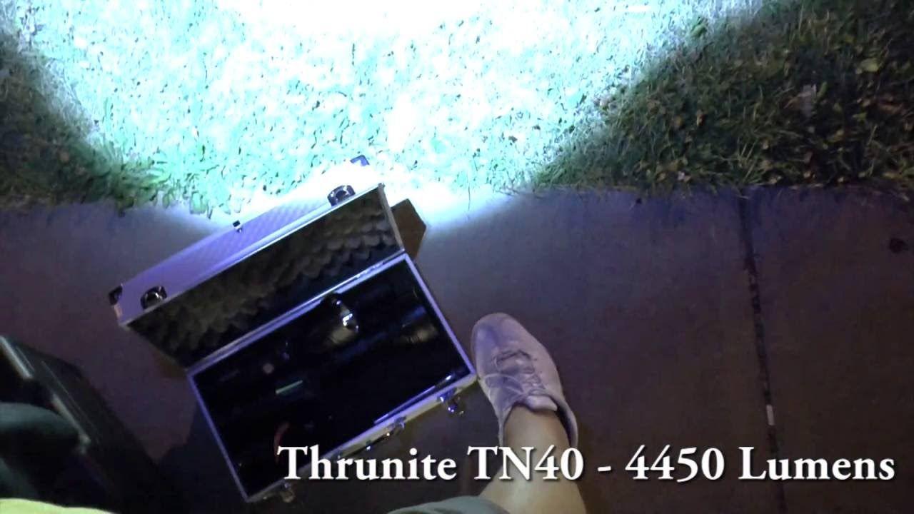 Thrunite TN40 vs Fenix TK70 - Flashlight Beamshot Battle