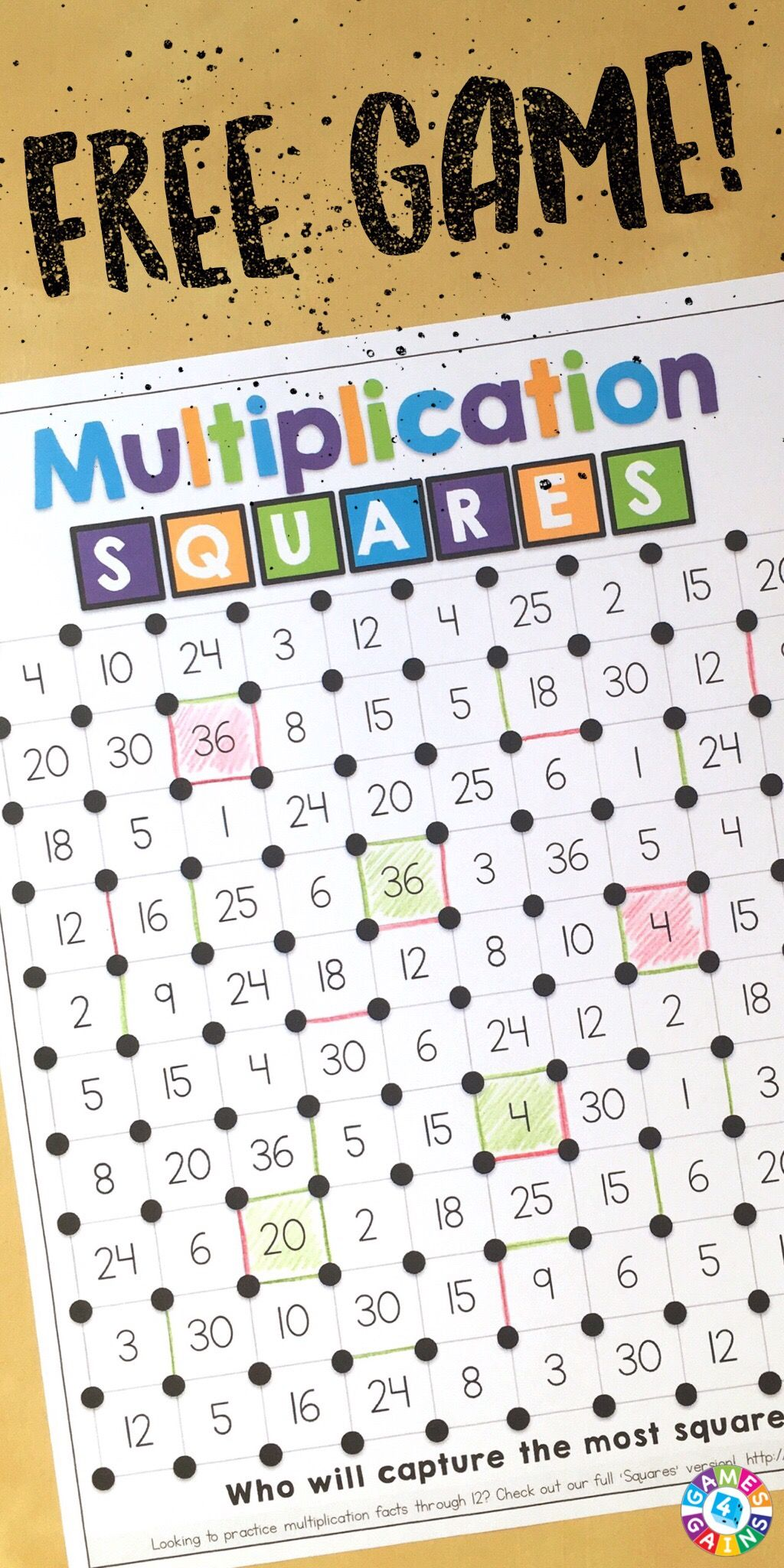 """We've """"Mathified"""" The Squares Game! Fun classroom"""