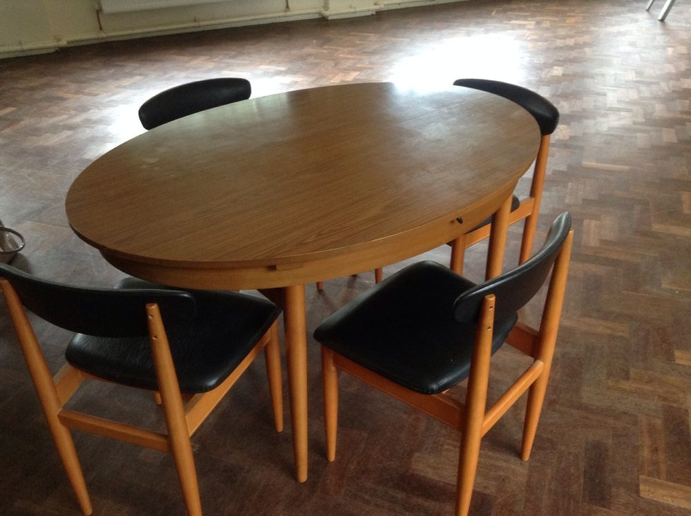 VINTAGE RETRO SCHREIBER 1970 s DINING TABLE AND 4 DINING CHAIRS ...