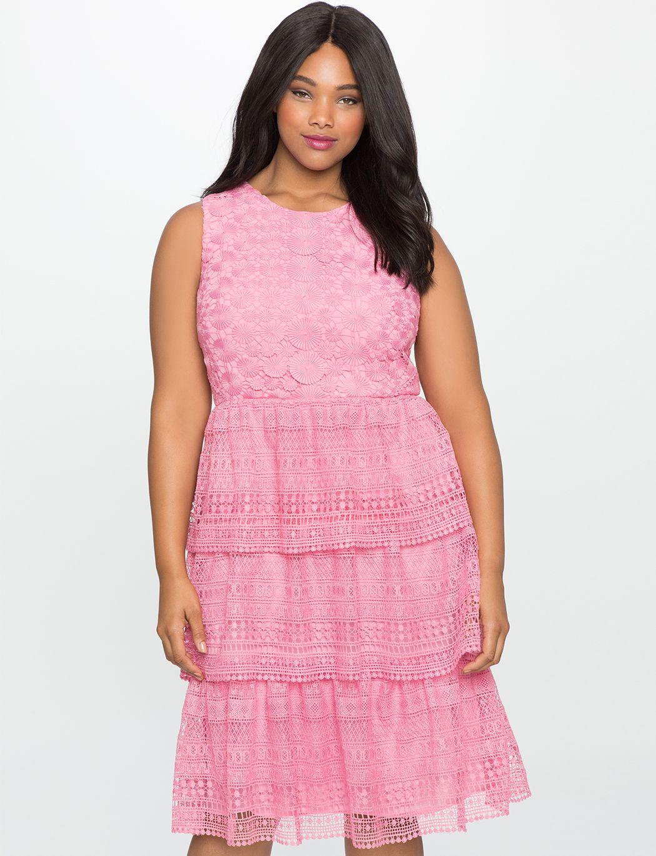 Studio Layered Circular Eyelet Dress | Women's Plus Size Dresses | ELOQUII