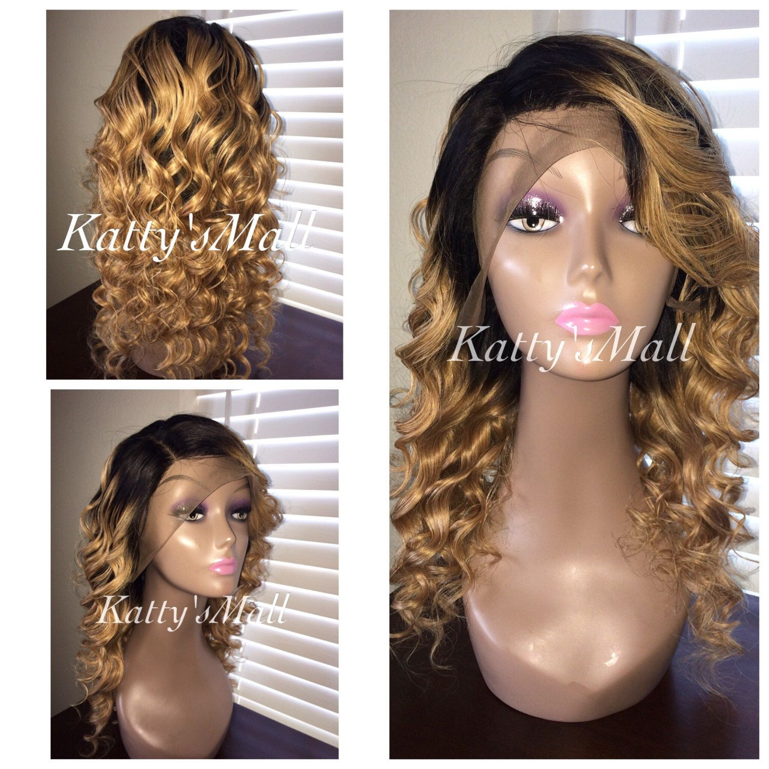 Curly Lace Front Two Tone Curly Wig Indian Virgin Hair Wig Full