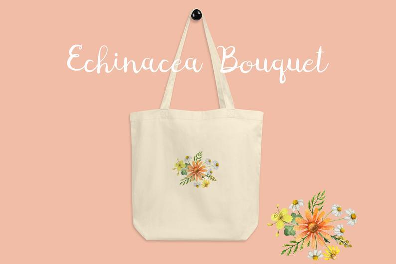 Echinacea Flower Bouquet Tote Bag Canvas Tote Bag Canvas Bag