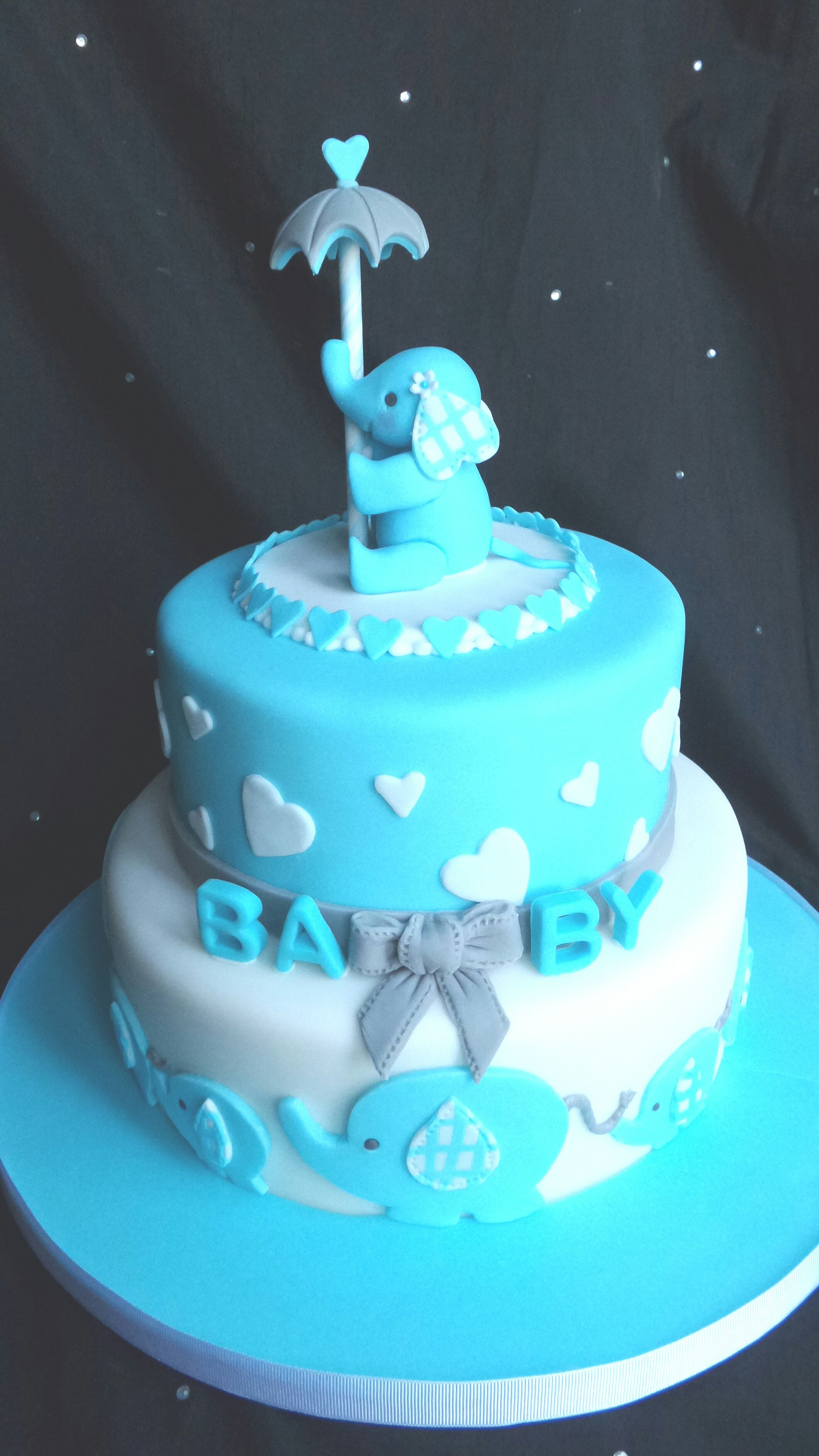 Baby Shower Cake With Hand Crafted Sugar Paste Elephants Cake