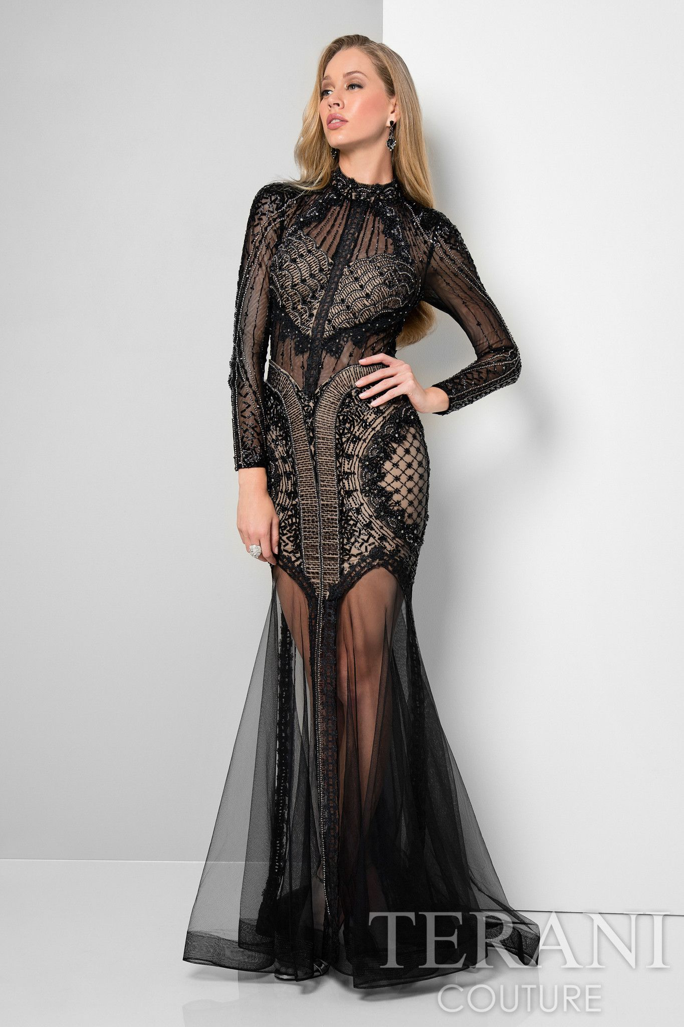 Terani Mock Neck Long Sleeve Sheer Gown | Clothes, Shoes & Jewelry ...