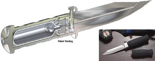 """Wasp Knife: El cuchillo cuenta con un pequeño tanque que """"inyecta una bola congelada de gas comprimido a 850 psi casi al instante."""""""