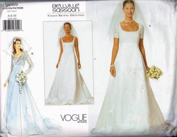 Size 6 10 Misses Empire Waist Scoop Neck Wedding Dress With Etsy Wedding Dress Sewing Patterns Sewing Wedding Dress Scoop Neck Wedding Dress