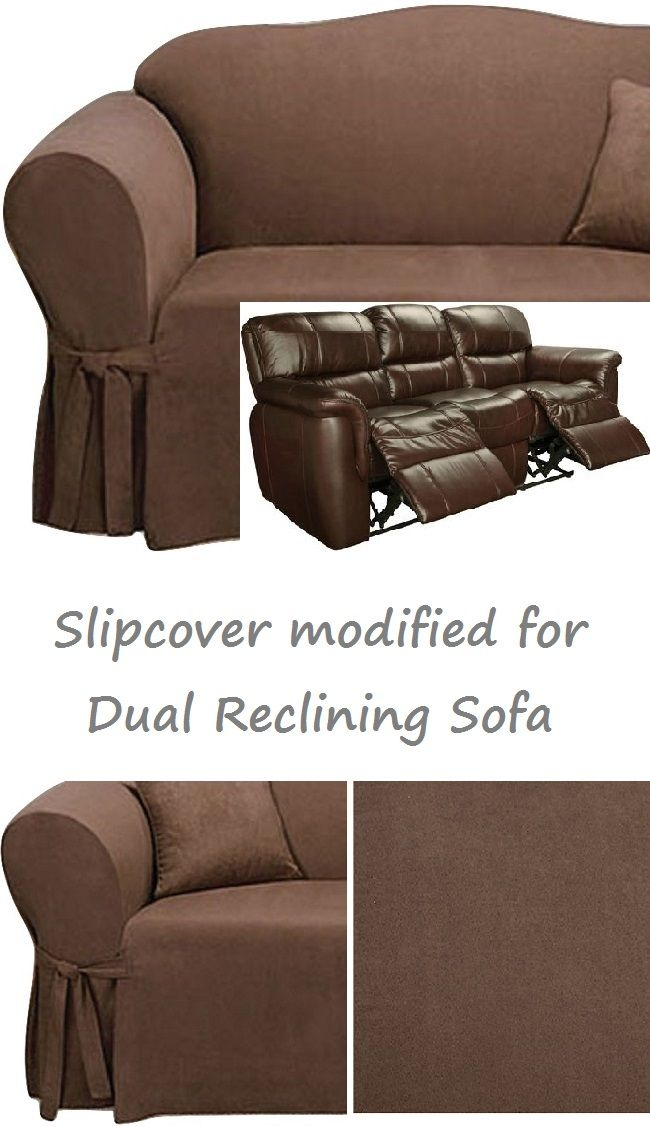Dual Reclining SOFA Slipcover Suede Chocolate Sure Fit Recliner ...