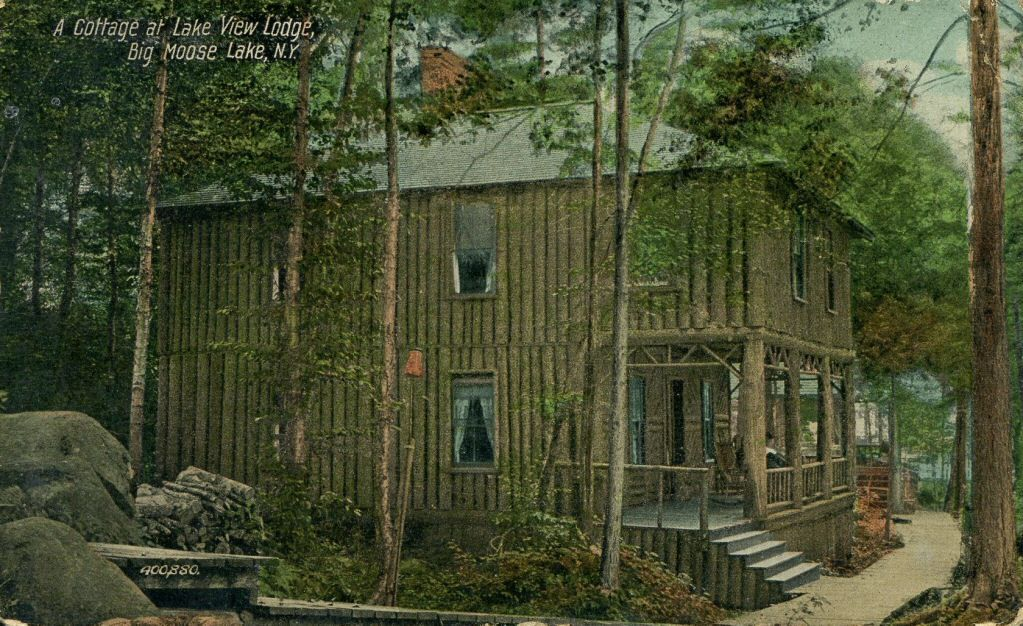 96.23078: A Cottage at Lake View Lodge, Big Moose Lake, N.Y. | postcard | Travel & Souvenirs | More | Online Collections | The Strong