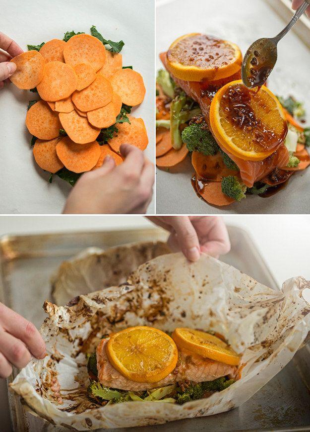 Salmón con naranja y jengibre acompañado de brócoli, camotes y kale | 19 Platos de salmón rápidos y saludables que todo el mundo puede preparar