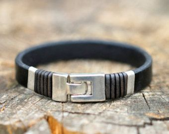 FREE SHIPPING mens leather bracelet handmade leather by OLDU