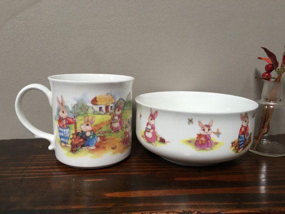 Hitkari porcelain china vintage childs mug and bowleaster gift hitkari porcelain china vintage childs mug and bowleaster gift baby gift toddler bunnies and rabbits negle Images